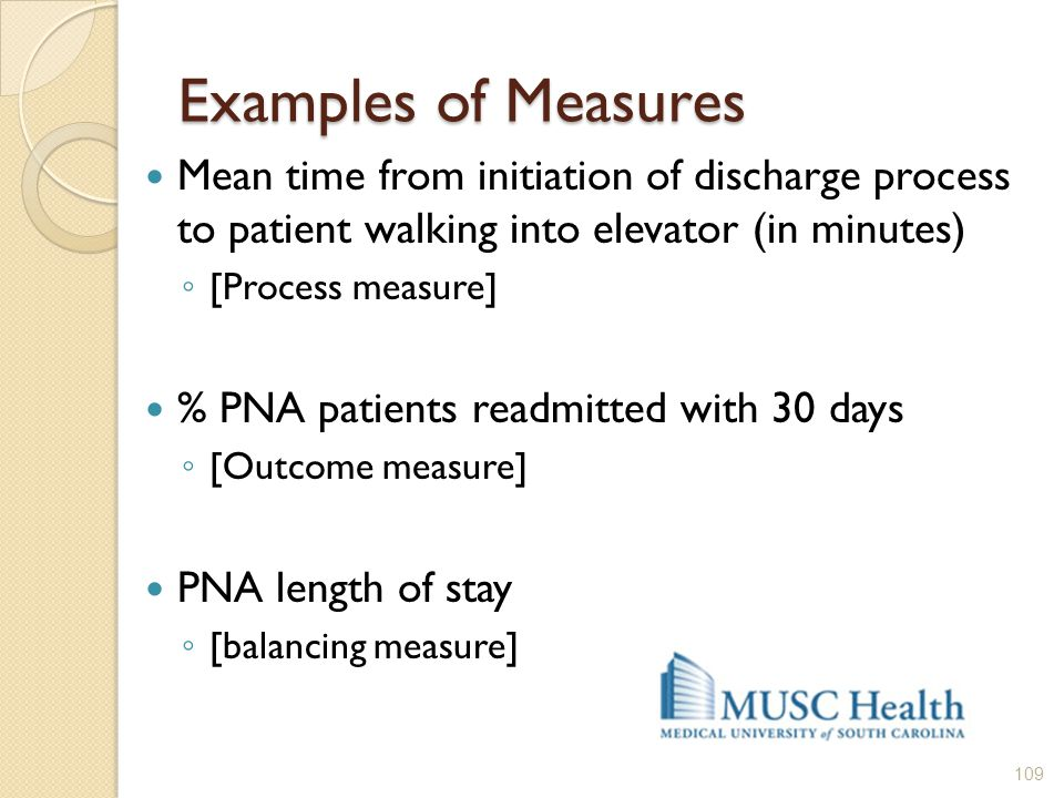Examples of Measures Mean time from initiation of discharge process to patient walking into elevator (in minutes) ◦ [Process measure] % PNA patients r