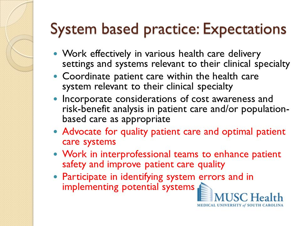 System based practice: Expectations Work effectively in various health care delivery settings and systems relevant to their clinical specialty Coordin