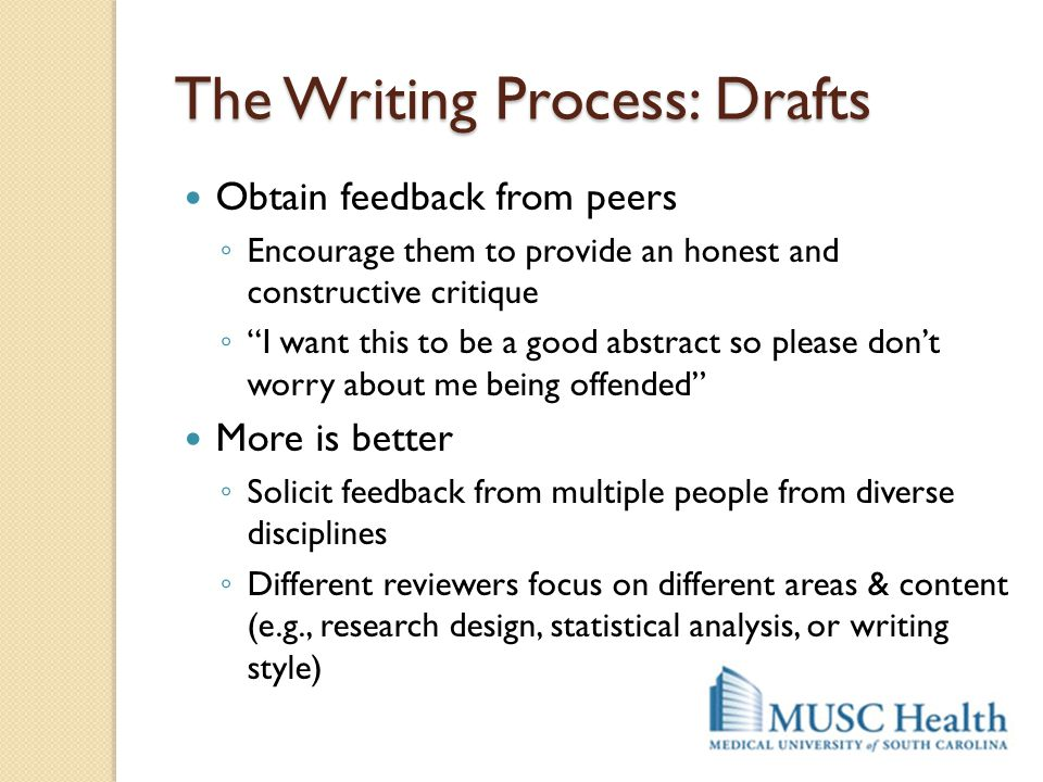 "The Writing Process: Drafts Obtain feedback from peers ◦ Encourage them to provide an honest and constructive critique ◦ ""I want this to be a good abs"