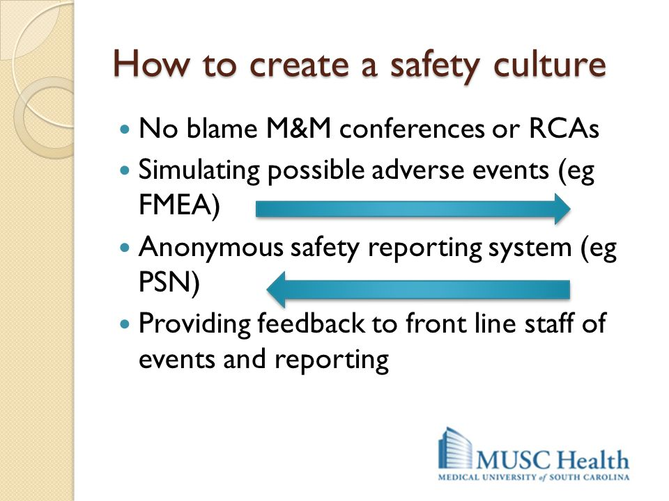 How to create a safety culture No blame M&M conferences or RCAs Simulating possible adverse events (eg FMEA) Anonymous safety reporting system (eg PSN