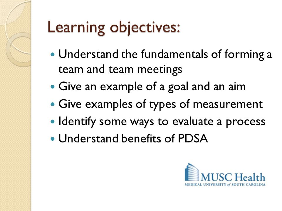 Learning objectives: Understand the fundamentals of forming a team and team meetings Give an example of a goal and an aim Give examples of types of me