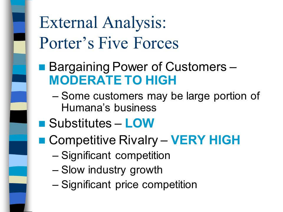 External Analysis: Porter's Five Forces Bargaining Power of Customers – MODERATE TO HIGH –Some customers may be large portion of Humana's business Substitutes – LOW Competitive Rivalry – VERY HIGH –Significant competition –Slow industry growth –Significant price competition