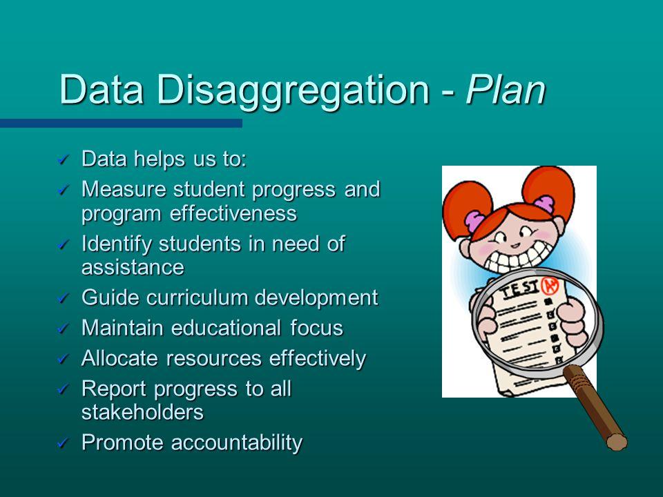 Data Disaggregation - Plan Data Disaggregation - Plan Data helps us to: Data helps us to: Measure student progress and program effectiveness Measure s
