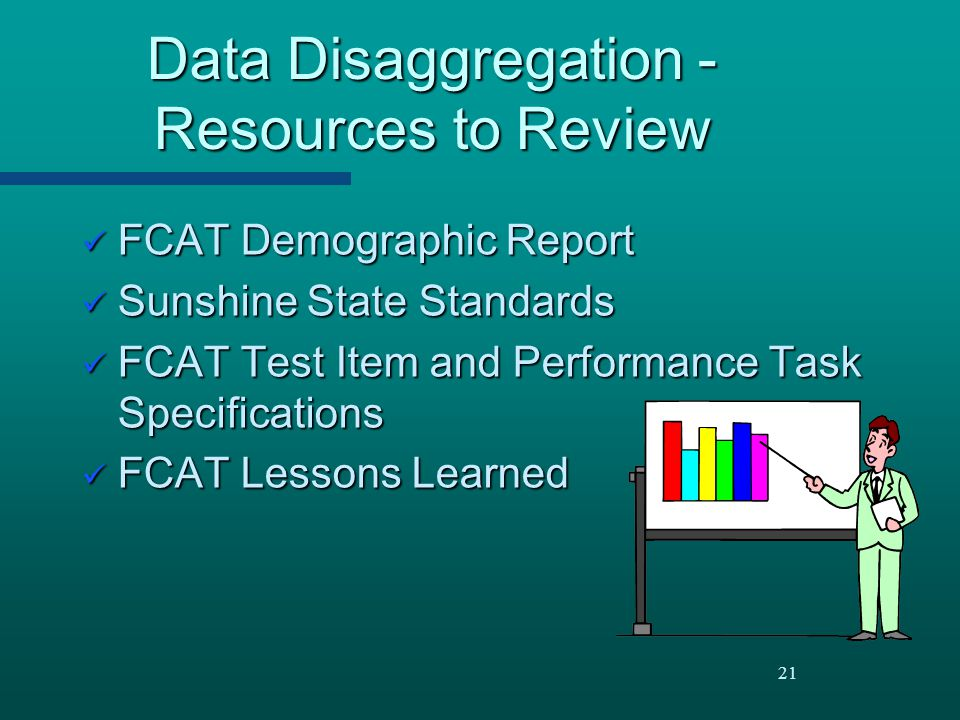 21 Data Disaggregation - Resources to Review FCAT Demographic Report FCAT Demographic Report Sunshine State Standards Sunshine State Standards FCAT Te