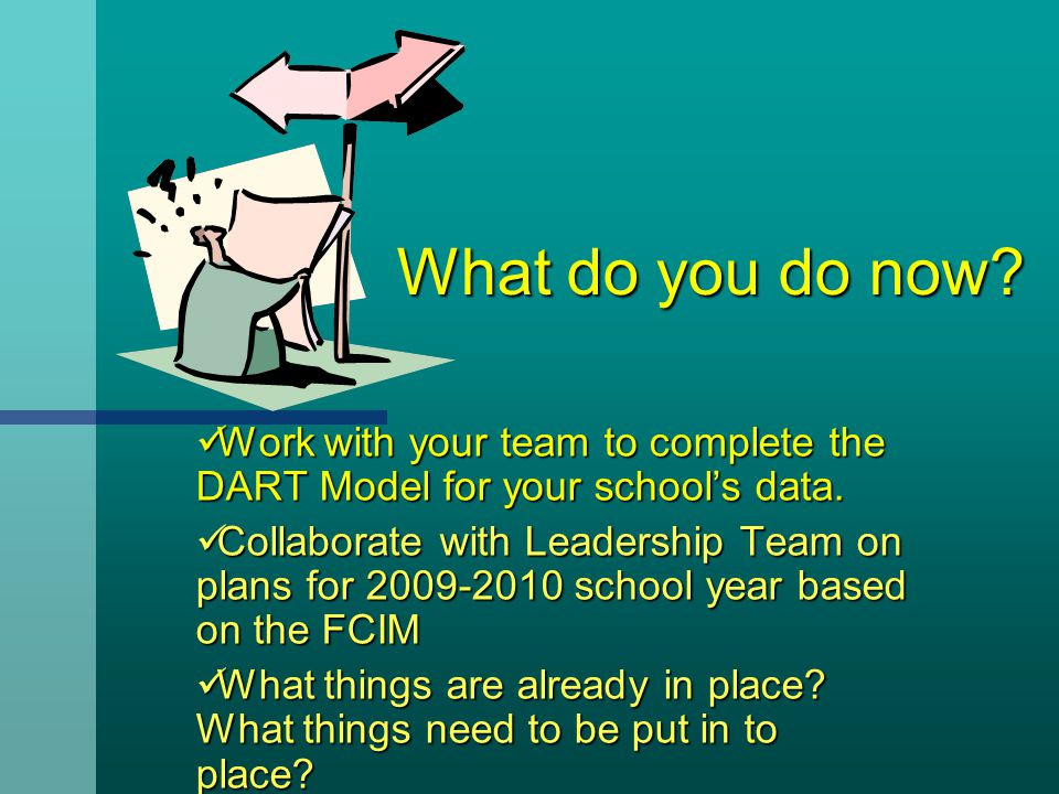 What do you do now? What do you do now? Work with your team to complete the DART Model for your school's data. Work with your team to complete the DAR