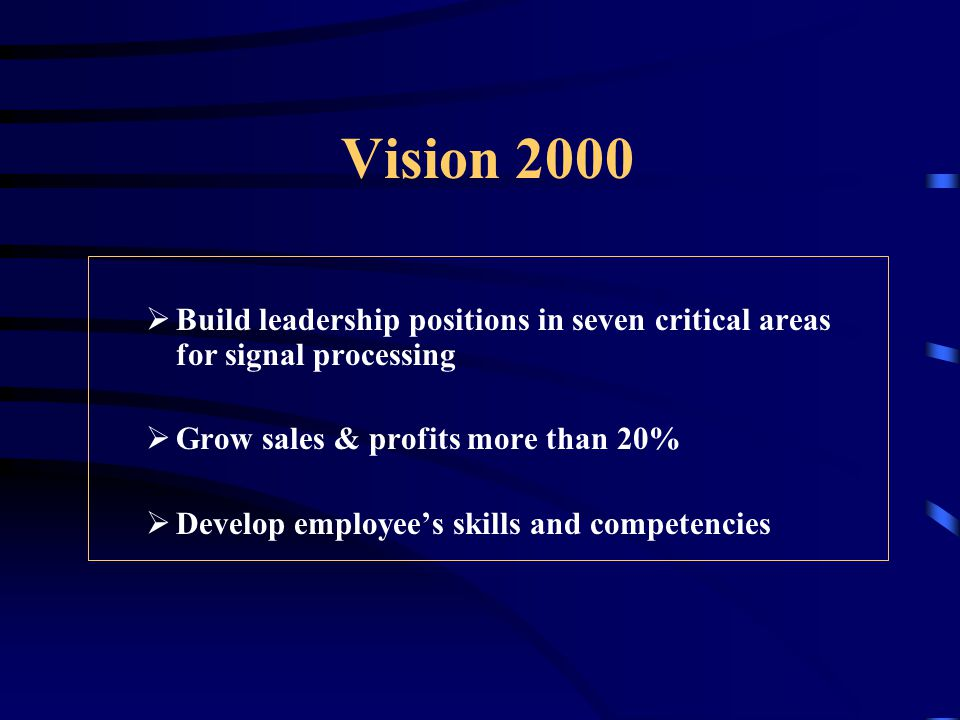 Vision 2000  Build leadership positions in seven critical areas for signal processing  Grow sales & profits more than 20%  Develop employee's skills and competencies