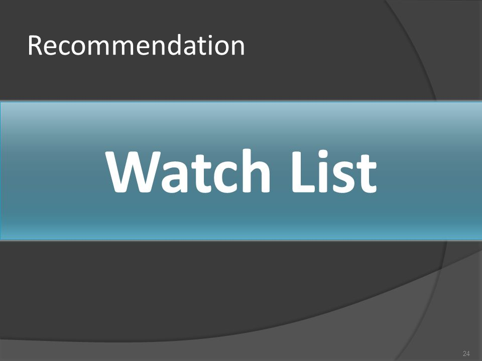 Recommendation 24 Watch List