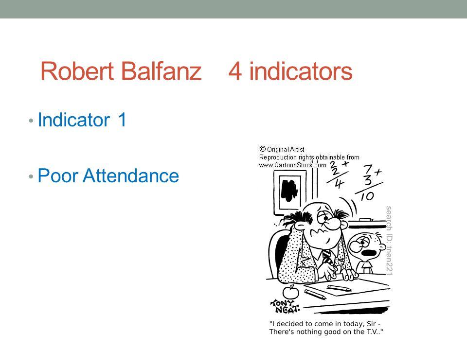 Robert Balfanz 4 indicators Indicator 1 Poor Attendance