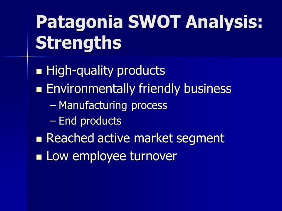 Patagonia SWOT Analysis: Strengths High-quality products High-quality products Environmentally friendly business Environmentally friendly business –Ma