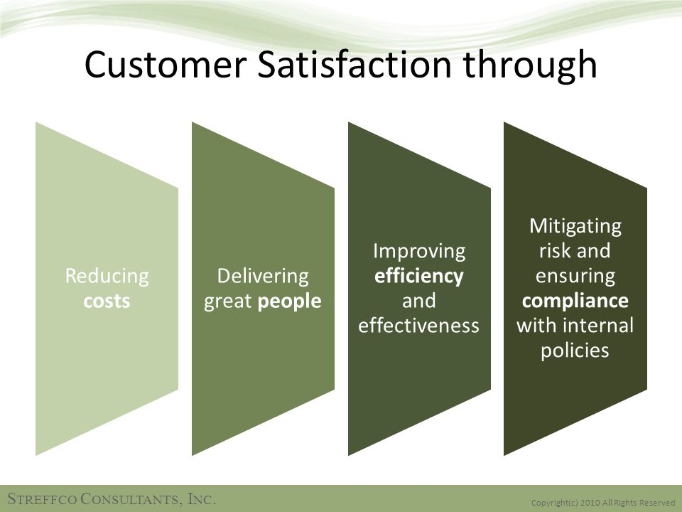 Customer Satisfaction through Reducing costs Delivering great people Improving efficiency and effectiveness Mitigating risk and ensuring compliance with internal policies Copyright(c) 2010 All Rights Reserved S TREFFCO C ONSULTANTS, I NC.