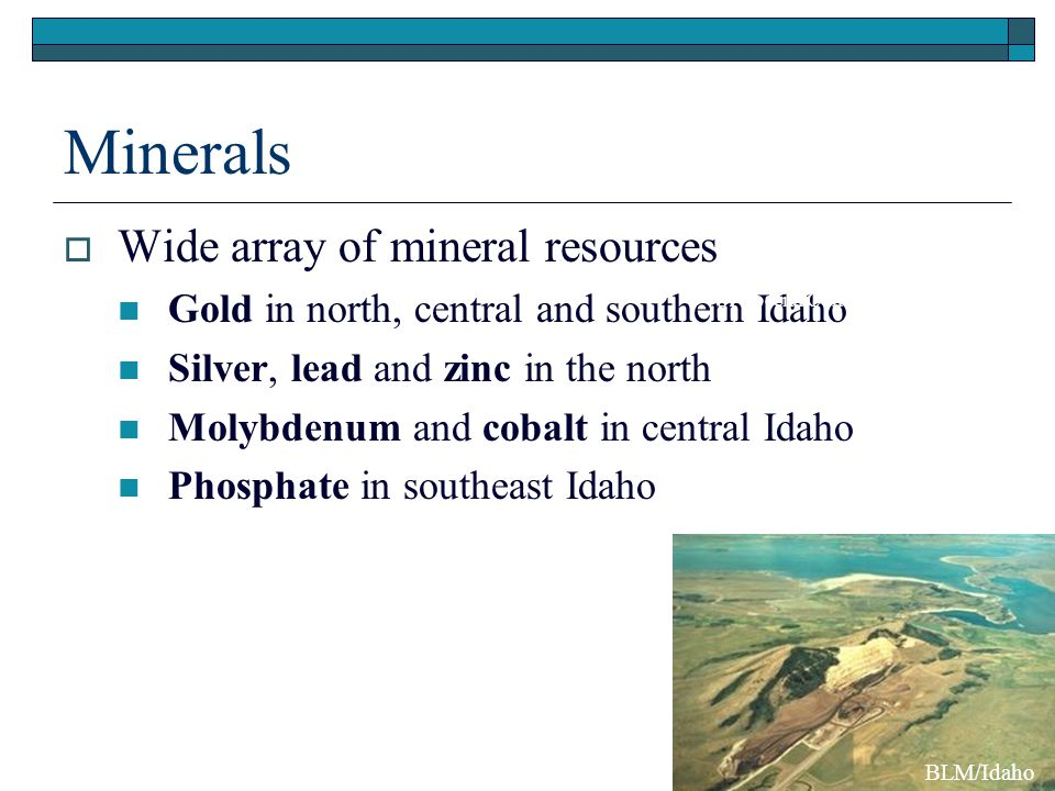 Minerals  Wide array of mineral resources Gold in north, central and southern Idaho Silver, lead and zinc in the north Molybdenum and cobalt in central Idaho Phosphate in southeast Idaho UI Special Collections BLM/Idaho