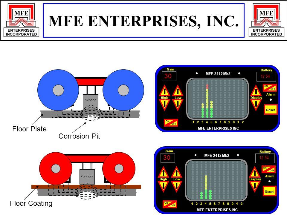 Sensor Floor Plate Corrosion Pit N S Sensor 30 12.54 Display Battery Gain LowHigh ON OFF MFE 2412 Mk2 MFE ENTERPRISES INC 1 2 3 4 5 6 7 8 9 0 1 2 Alarm Reset ON OFF ON 30 12.54 Display Battery Gain LowHigh ON OFF MFE 2412 Mk2 MFE ENTERPRISES INC 1 2 3 4 5 6 7 8 9 0 1 2 Alarm Reset ON OFF ON Floor Coating MFE ENTERPRISES, INC.