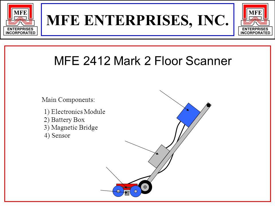 1) Electronics Module 2) Battery Box 3) Magnetic Bridge 4) Sensor Main Components: MFE 2412 Mark 2 Floor Scanner MFE ENTERPRISES, INC.