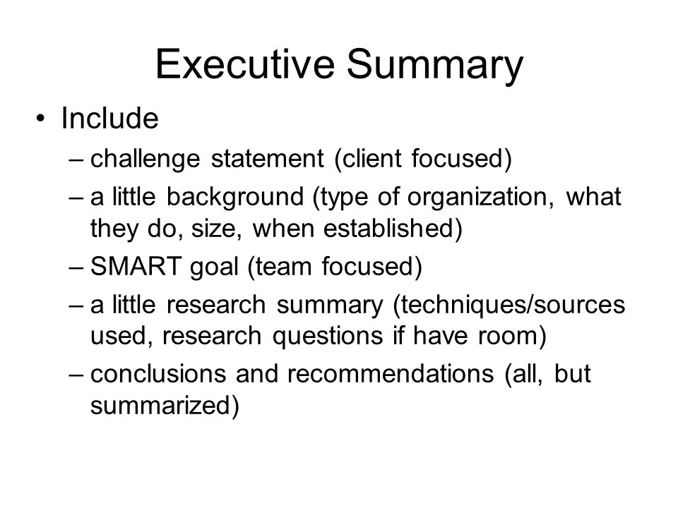 Doc585680 Executive Summary Outline Examples Format 31 – Writing Executive Summary Template