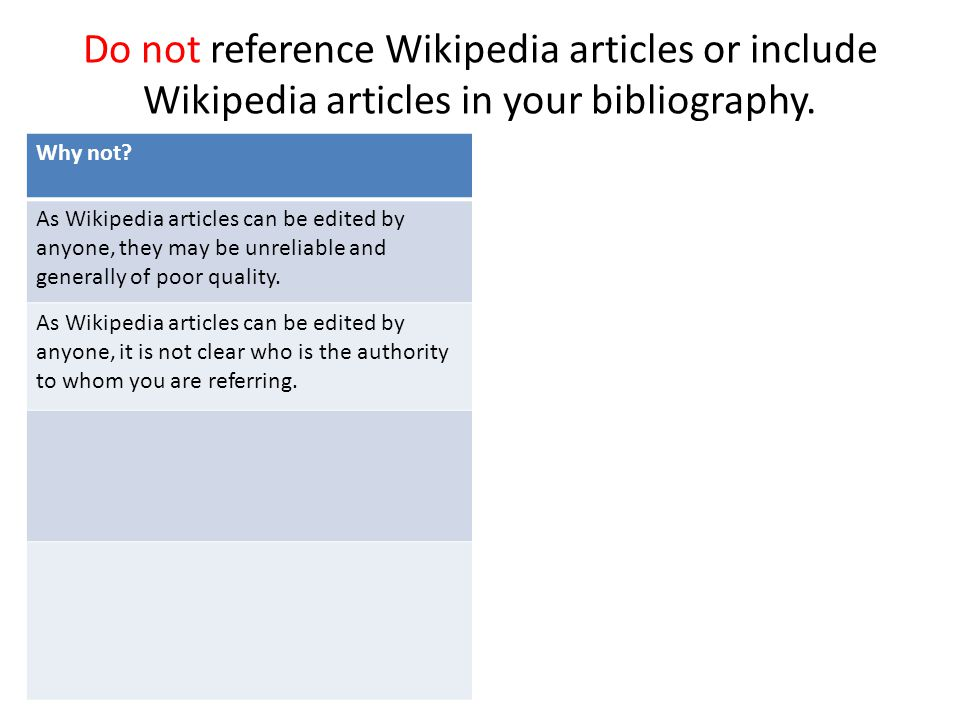 Do not reference Wikipedia articles or include Wikipedia articles in your bibliography. Why not? As Wikipedia articles can be edited by anyone, they m