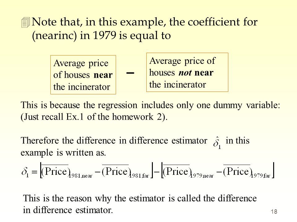 4Note that, in this example, the coefficient for (nearinc) in 1979 is equal to 18 Average price of houses near the incinerator Average price of houses
