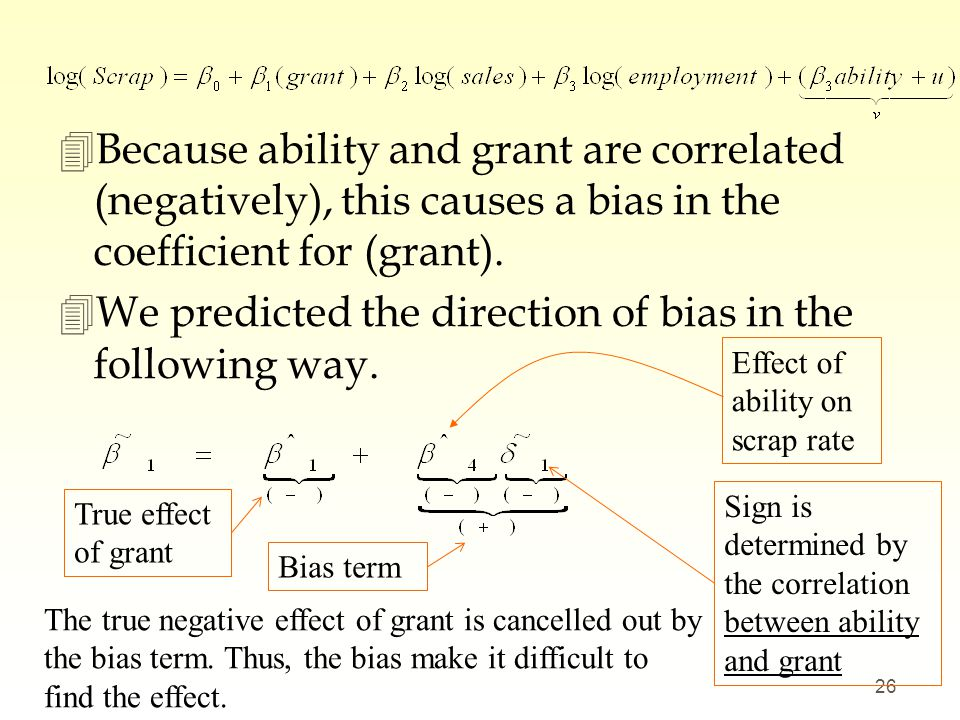 4Because ability and grant are correlated (negatively), this causes a bias in the coefficient for (grant). 4We predicted the direction of bias in the