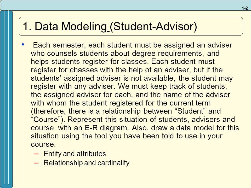 1-3 S_ID S_Name S_Major C_ID C_Title C_Credits Advisor Ad_ID Ad_Name Ad_Department StudentCourse S_ID S_Name S_Major C_ID C_Title C_Credits Ad_ID Ad_Name Ad_Department AdvisorStudentCourse Student_Advisor Ad_ID S_ID Semester Year Enrollment C_ID S_ID Semester Year 1a) 1b) break down M:N into two 1:M