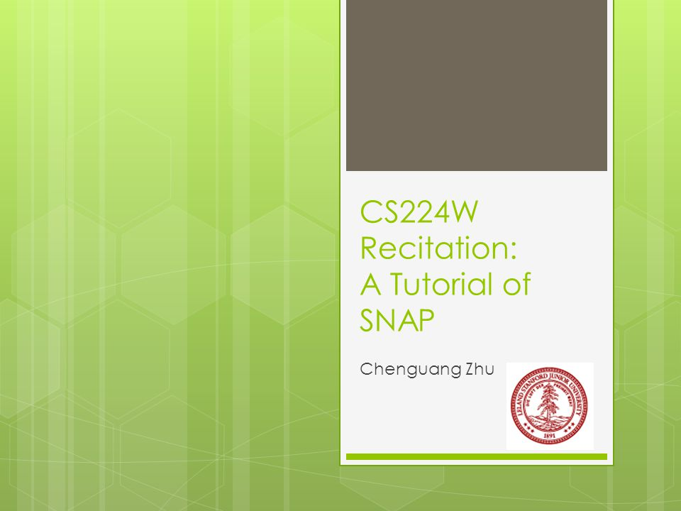 What is SNAP ?  S tanford N etwork A nalysis P roject (SNAP)  A network analysis and graph mining library  C++ based  Manipulates large graphs, calculates structural properties, generates graphs, and supports attributes on nodes and edges  More info on http://snap.stanford.eduhttp://snap.stanford.edu