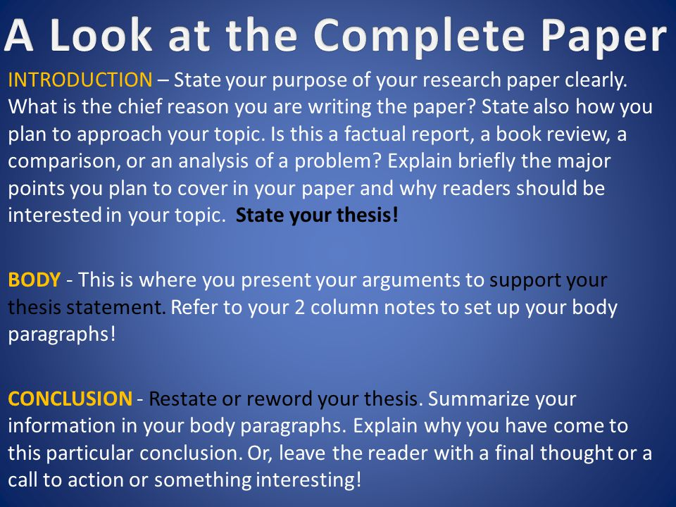 INTRODUCTION – State your purpose of your research paper clearly.