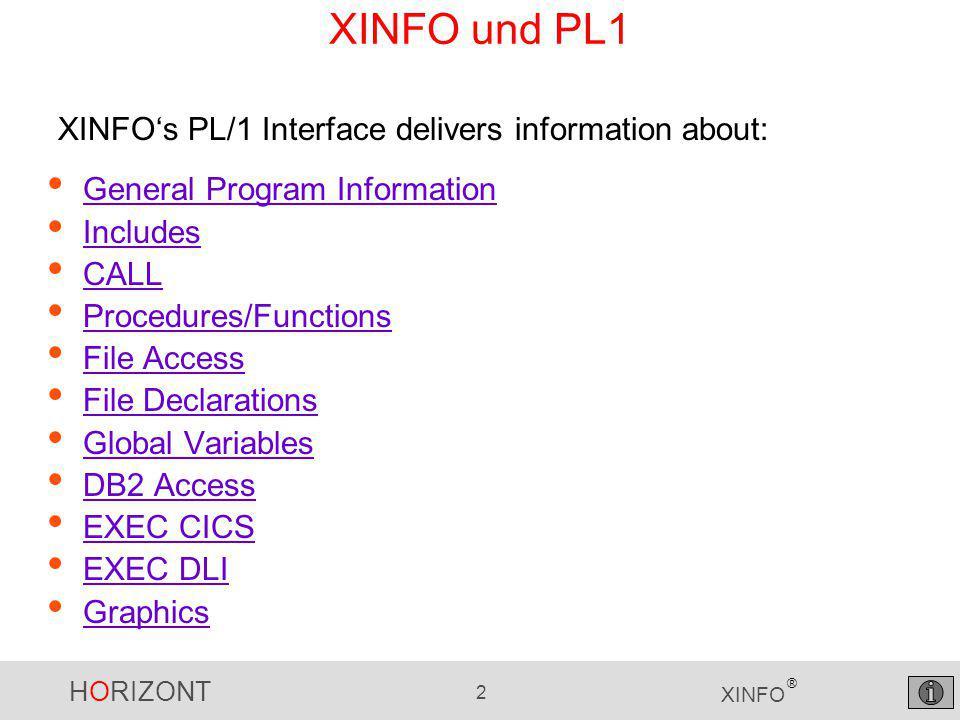 HORIZONT 13 XINFO ® PL1 - External program call...select CALL … PL1 programs are often calling other Programs.