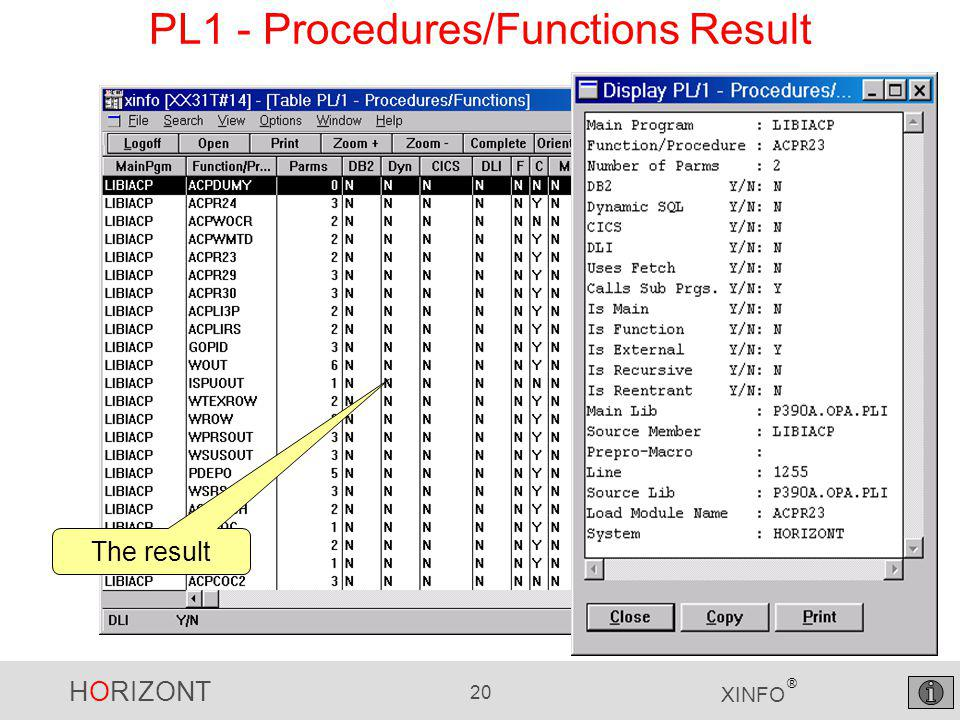 HORIZONT 20 XINFO ® PL1 - Procedures/Functions Result The result