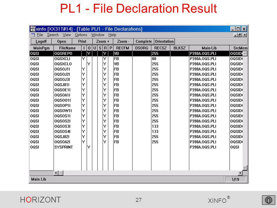 HORIZONT 27 XINFO ® PL1 - File Declaration Result