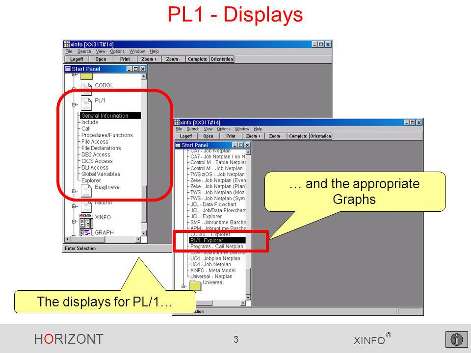 """HORIZONT 34 XINFO ® PL1 – CICS Access Selection Which programs are using """"EXEC CICS SEND ."""