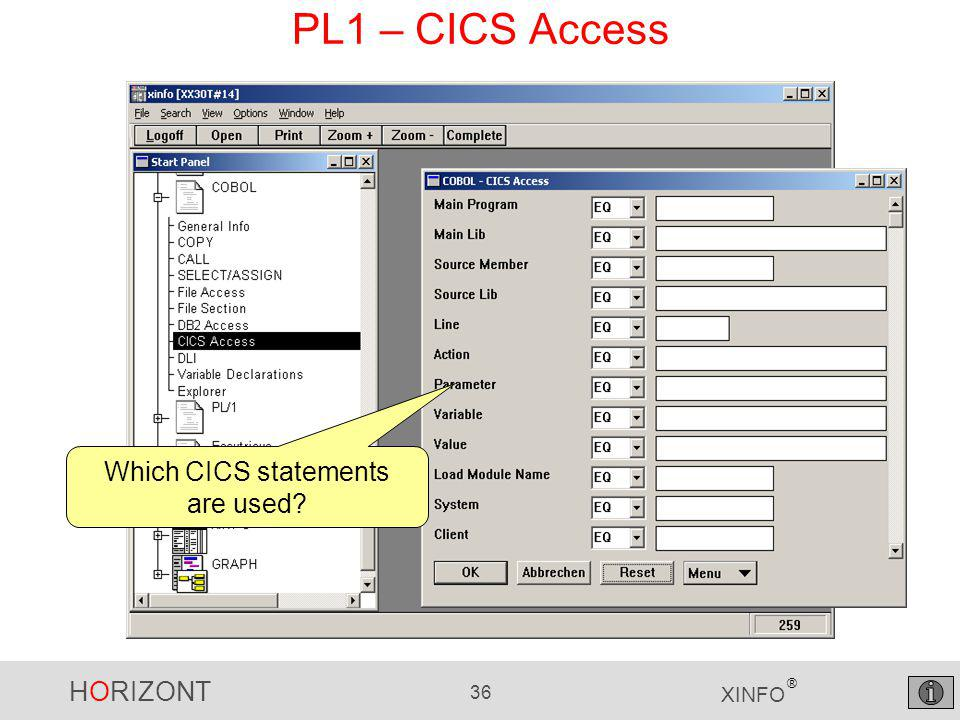 HORIZONT 36 XINFO ® PL1 – CICS Access Which CICS statements are used