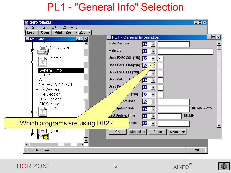 """HORIZONT 16 XINFO ® PL1 – """"Call Result, Grouped..then select Group ... Select Main Program ..."""