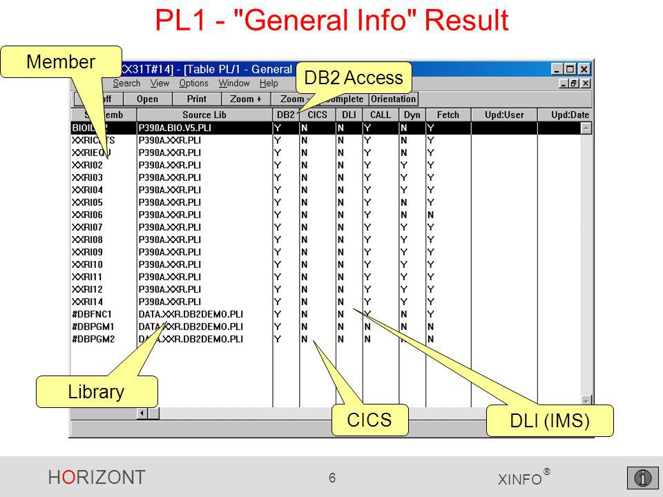 HORIZONT 6 XINFO ® PL1 - General Info Result Member Library CICS DB2 Access DLI (IMS)