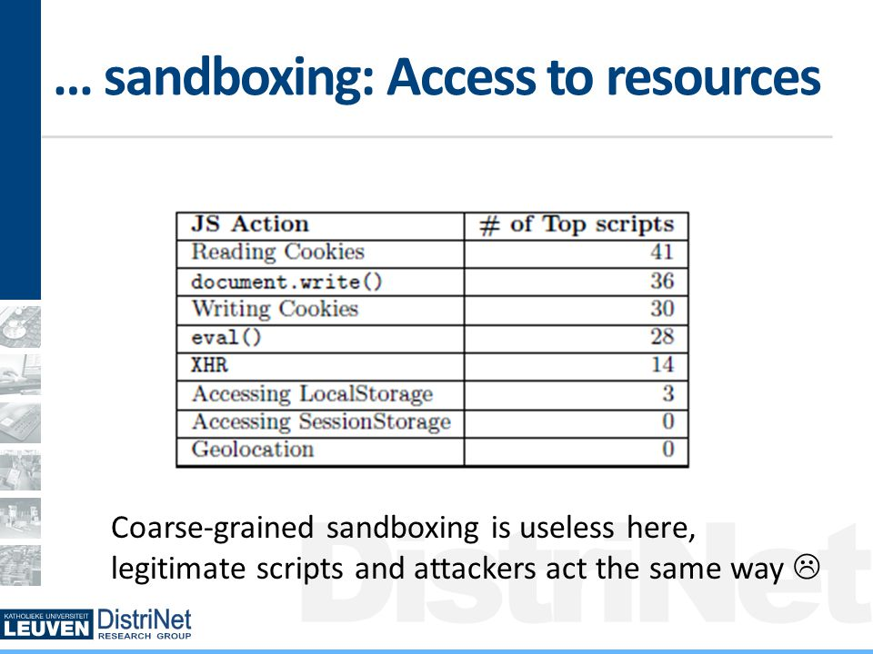 DistriNet … sandboxing: Access to resources Coarse-grained sandboxing is useless here, legitimate scripts and attackers act the same way 