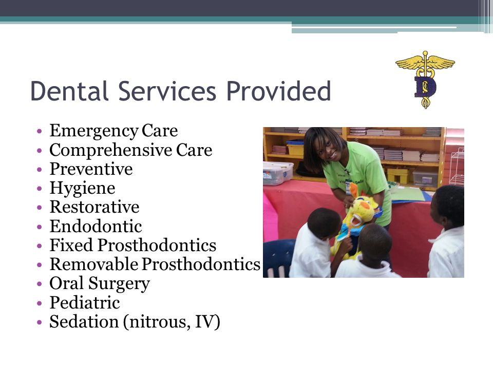 Dental Services Provided Emergency Care Comprehensive Care Preventive Hygiene Restorative Endodontic Fixed Prosthodontics Removable Prosthodontics Oral Surgery Pediatric Sedation (nitrous, IV)