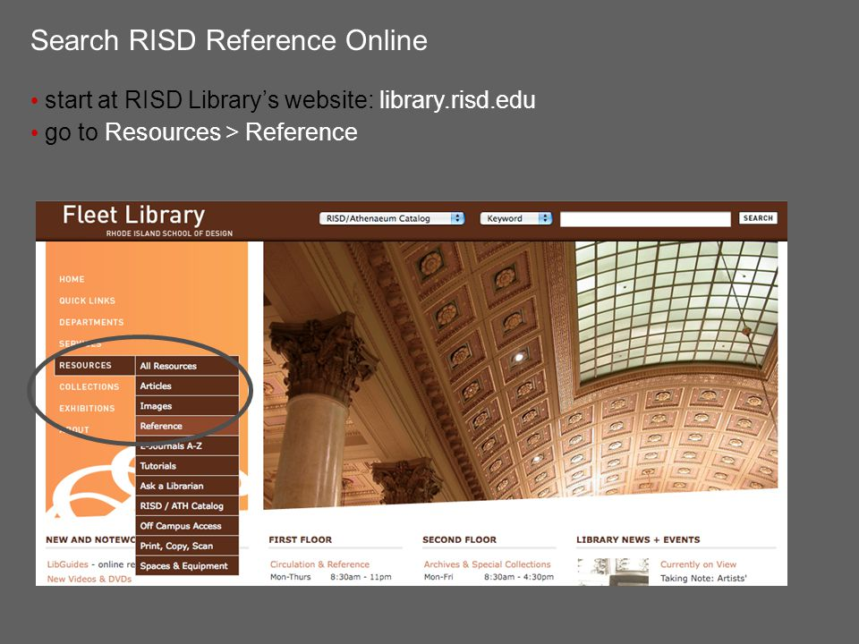 Search RISD Reference Online read the descriptions of each database ask a librarian or your instructor for database recommendations search multiple databases keep notes on your search terms, strategies and results