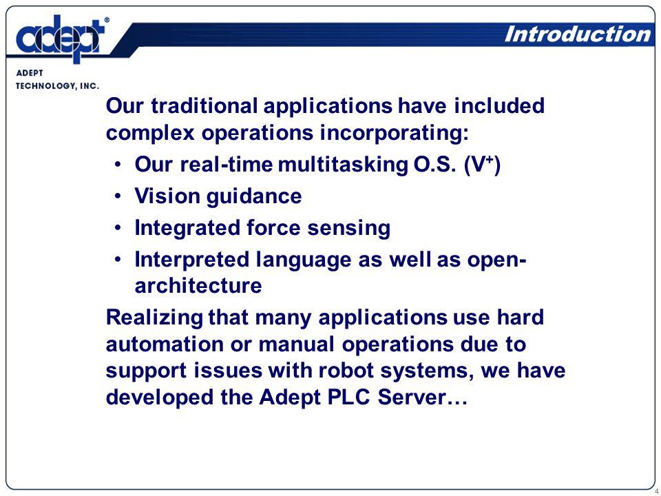 5 The Adept PLC Server provides a seamless interface between a PLC and an Adept robot.