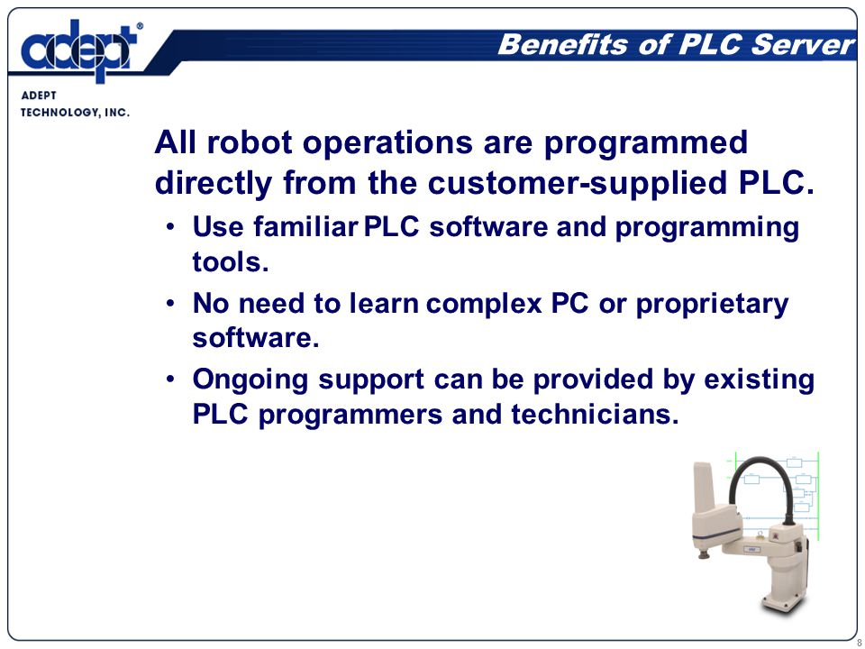 8 All robot operations are programmed directly from the customer-supplied PLC.