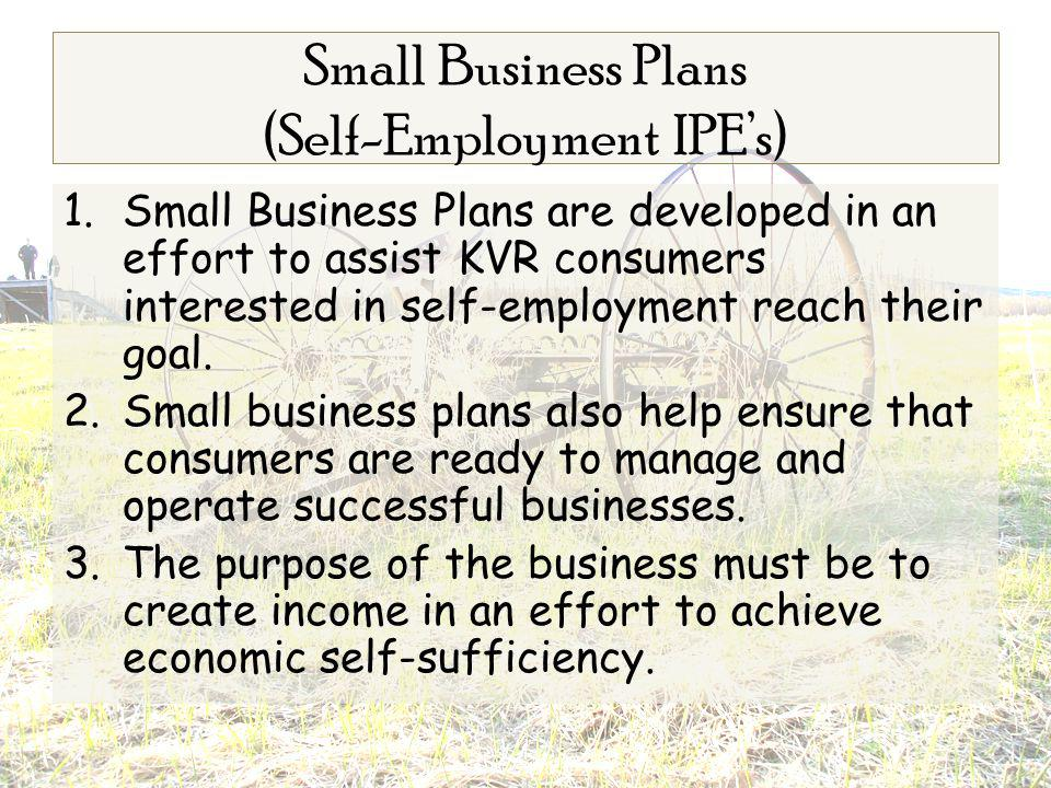 1.Small Business Plans are developed in an effort to assist KVR consumers interested in self-employment reach their goal.