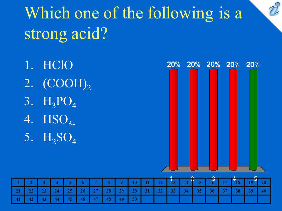 Which one of the following is a strong acid? 1234567891011121314151617181920 2122232425262728293031323334353637383940 41424344454647484950 1.HClO 2.(C