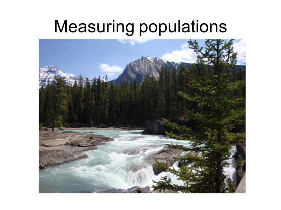 Measuring populations - sampling Usually use transect or quadrat to sample Count number of organisms per sample area, then calculate numbers per m 2 (or m 3 )