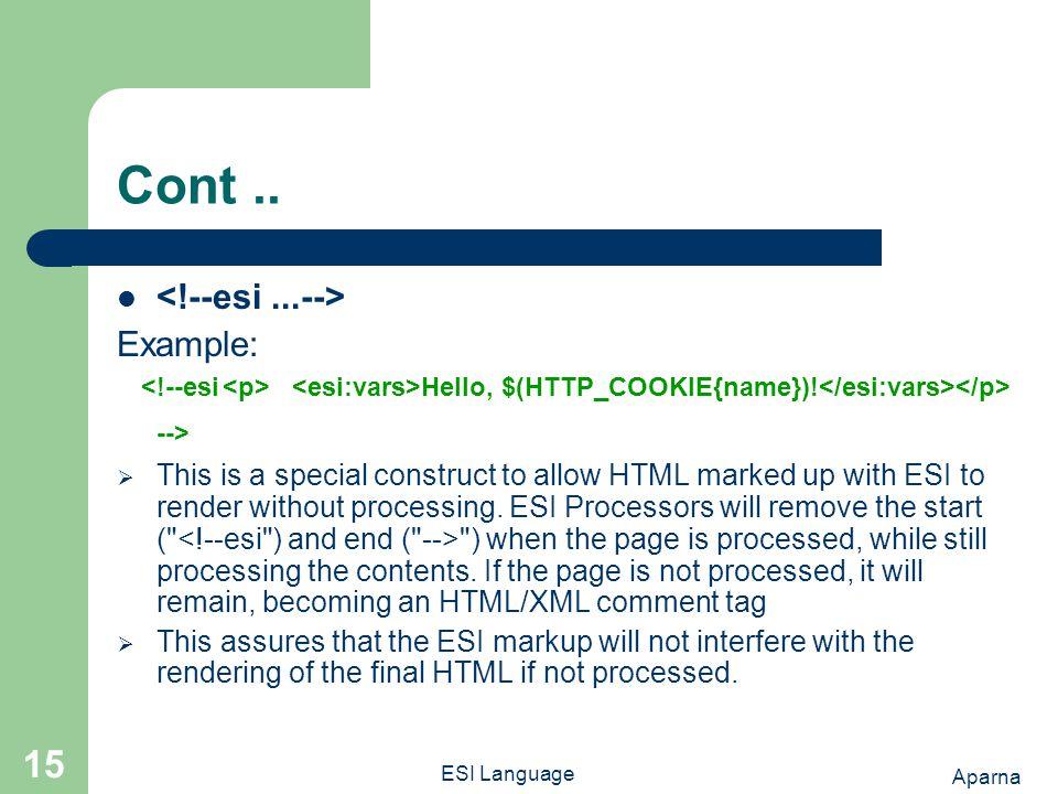 Aparna ESI Language 15 Cont.. Example: Hello, $(HTTP_COOKIE{name}).