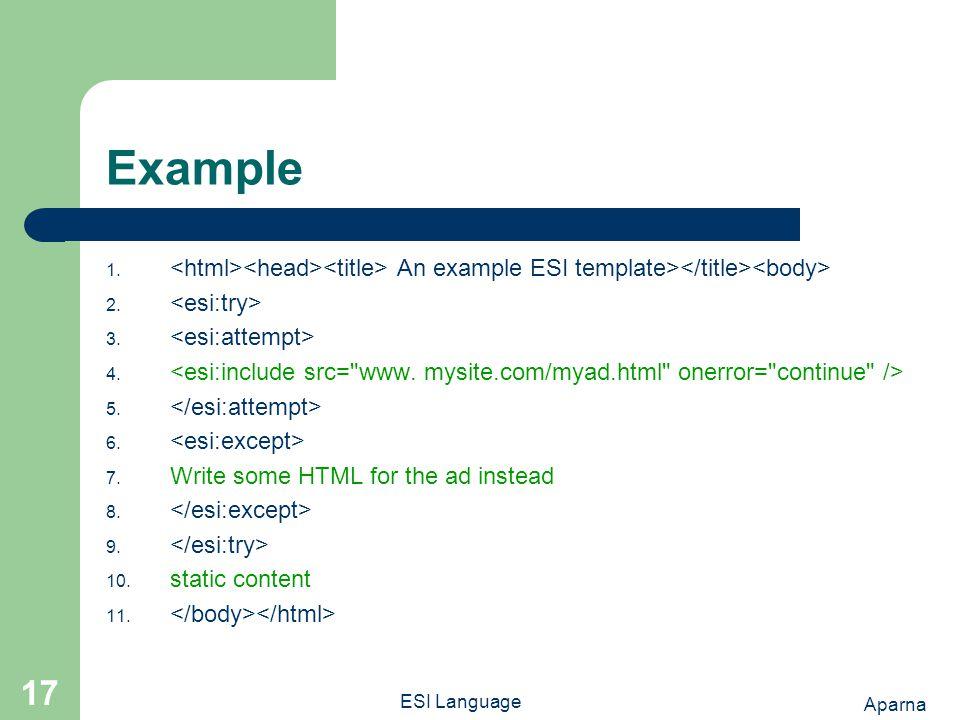 Aparna ESI Language 17 Example 1. An example ESI template> 2.