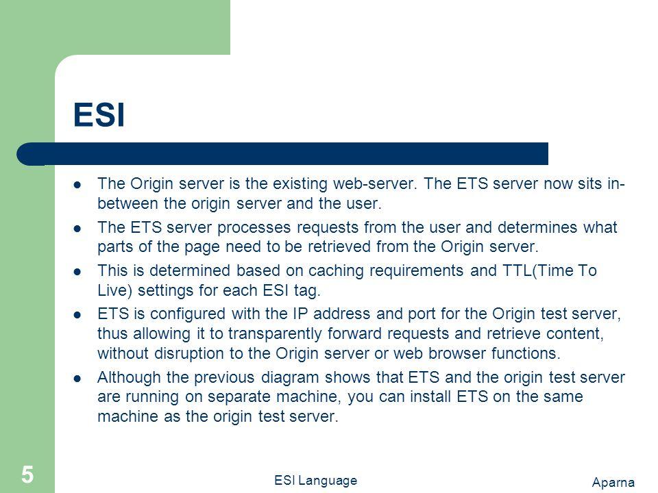 Aparna ESI Language 5 ESI The Origin server is the existing web-server.