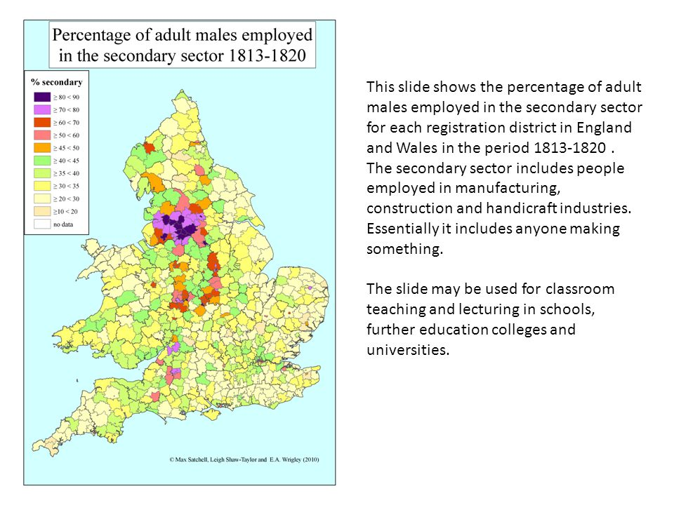 This slide shows the percentage of adult males employed in the secondary sector for each registration district in England and Wales in the period