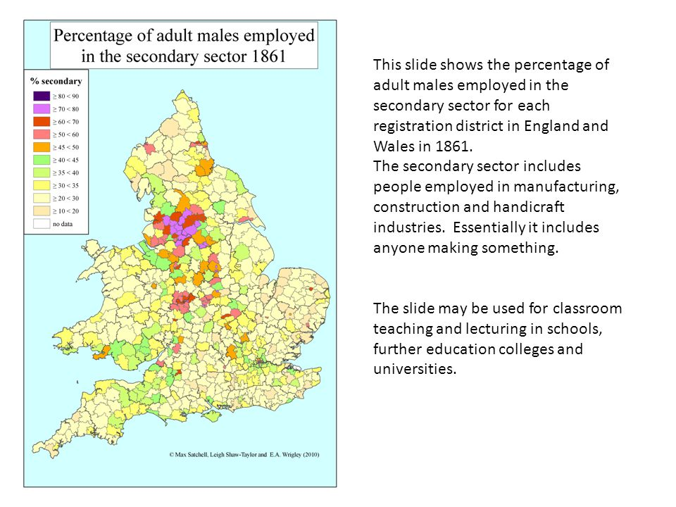 This slide shows the percentage of adult males employed in the secondary sector for each registration district in England and Wales in 1861.