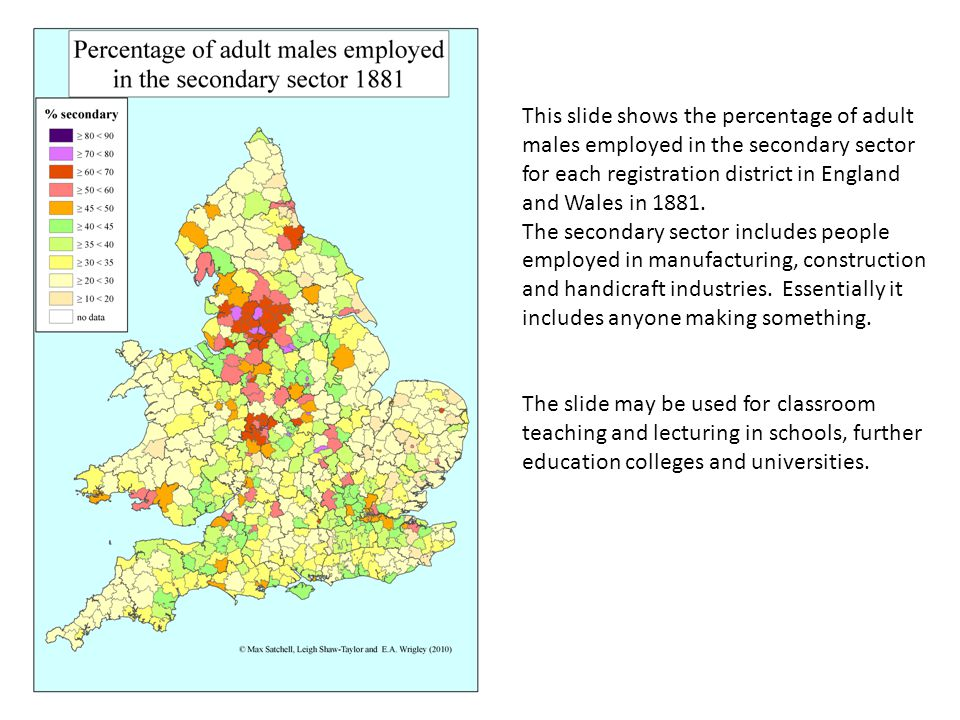 This slide shows the percentage of adult males employed in the secondary sector for each registration district in England and Wales in 1881.