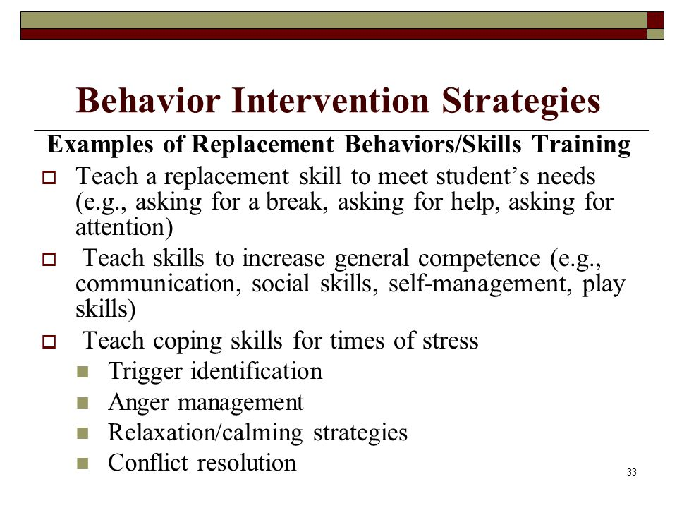 33 Behavior Intervention Strategies Examples of Replacement Behaviors/Skills Training  Teach a replacement skill to meet student's needs (e.g., askin