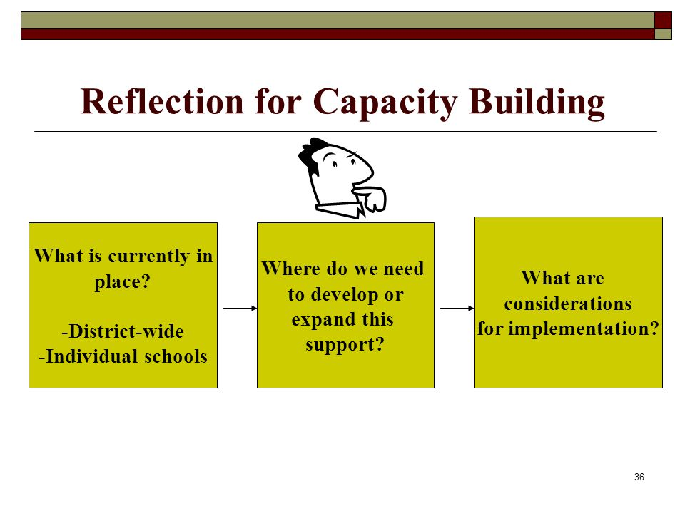 36 Reflection for Capacity Building What is currently in place? -District-wide -Individual schools Where do we need to develop or expand this support?