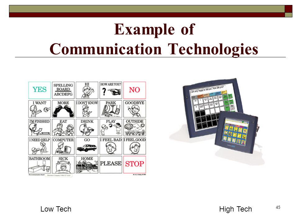 45 Example of Communication Technologies Low TechHigh Tech
