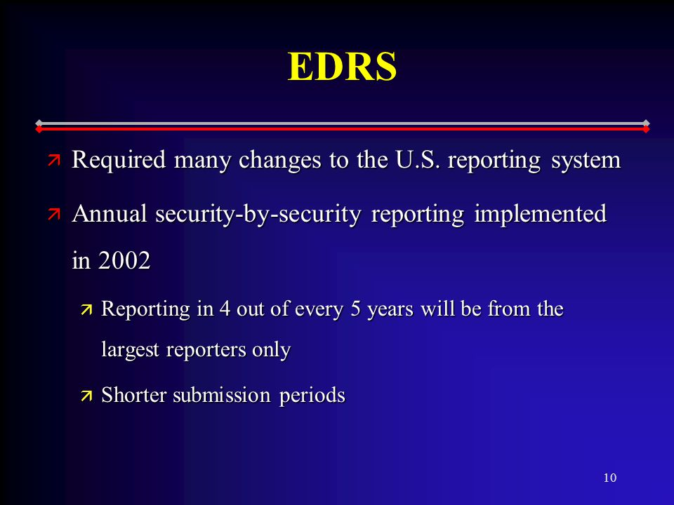 10 EDRS ä Required many changes to the U.S.