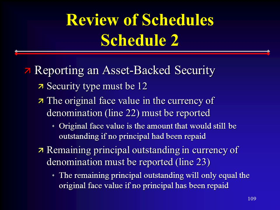 109 Review of Schedules Schedule 2 ä Reporting an Asset-Backed Security ä Security type must be 12 ä The original face value in the currency of denomination (line 22) must be reported * Original face value is the amount that would still be outstanding if no principal had been repaid ä Remaining principal outstanding in currency of denomination must be reported (line 23) * The remaining principal outstanding will only equal the original face value if no principal has been repaid